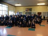 Sponsored Pancake medal winners (standing at Assembly). Well done everybody.